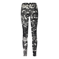 HuiGee Moomin women's leggings, the Hobgoblin's hat, black/white