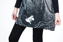 HuiGee Moomin women's tunic-dress, Moomin in the Forest, black/white