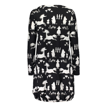 HuiGee Moomin women's tunic-dress with front pockets, Silhouette