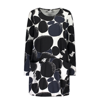 HuiGee Moomin women's tunic-dress with front pockets Rock, black/grey/white