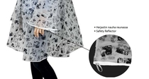 Lasessor Moomin Holiday rain poncho, black or white, 2 sizes