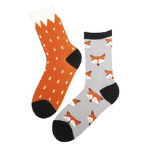 Mismatched socks for women, fox, one size 36-40