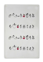 Moomin Little Mys on a line kitchen towel, white