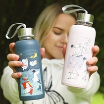 Moomin Storm drinking bottle with silicone surface, light pink