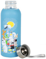 Moomin Summerday drinking bottle with silicone surface, blue