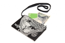Moomin tapestry purse/ neck pouch, Moominpappa reading