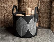 Muurla Leaf storage basket 30L / Ø 35 cm, black/grey