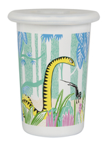 Muurla Moomin enamel mug Moomins in the Jungle with silicone lid
