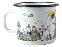 Muurla Moomin enamel mug/ candle, Moment Together, 3,7dl, white
