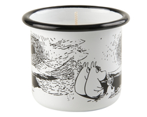 Muurla Moomin enamel mug/candle, Sunset, 2.5dl, white
