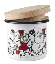 Muurla Muumi enamel jar 3.7dl with wooden lid, Magic Winter