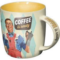 Retro mug Coffee is ready