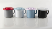 Silicone lid for enamel mugs and tumblers, light blue