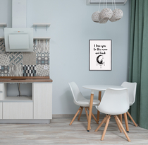 """Text poster """"... to moon and back"""", starting at 7,90€"""