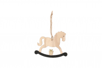 Winteria branch decoration rocking horse, black and light-colored tree