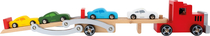 Wooden car carrier truck, colourful