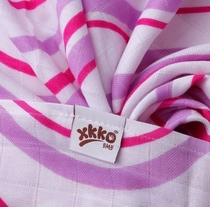 XKKO® Bamboo viscose gauze 3pcs for a baby, purple heart/wave